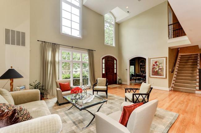 large living room with soaring ceilings at 9120 Kittery Lane in Bethesda