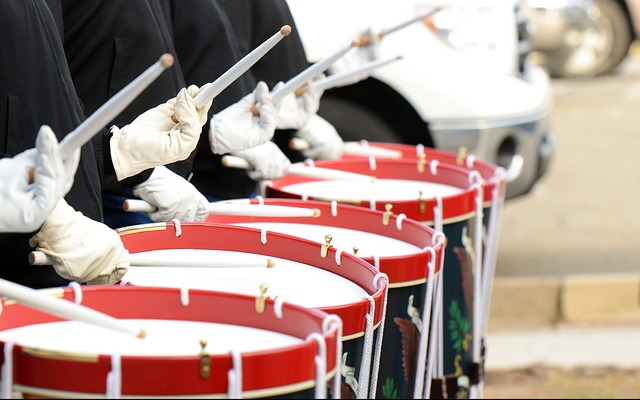 drums in a parade line