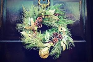 Christmas wreath on a front door